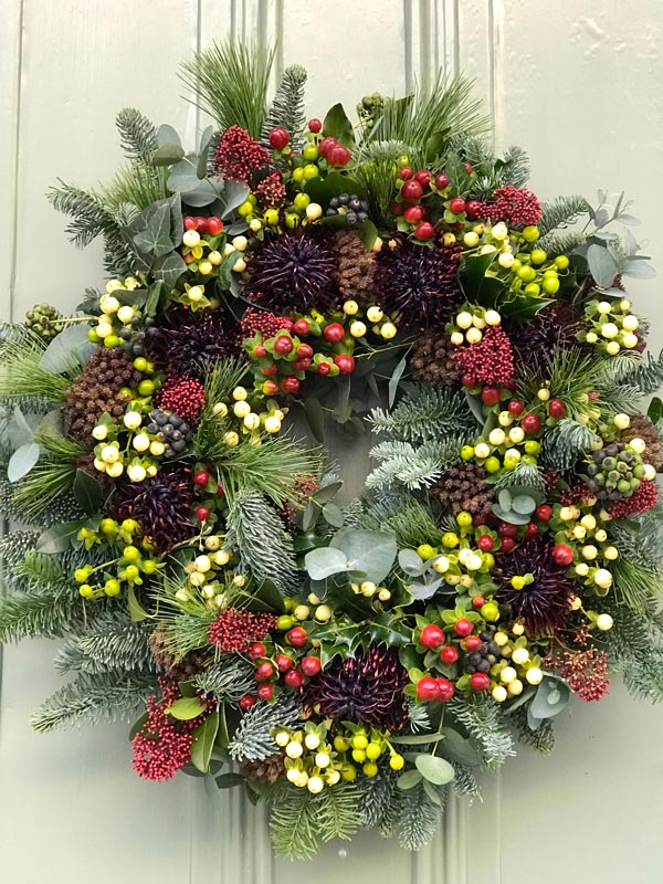 Bespoke-Wreaths-Winter-Berries-Skimmia-Leucosperum